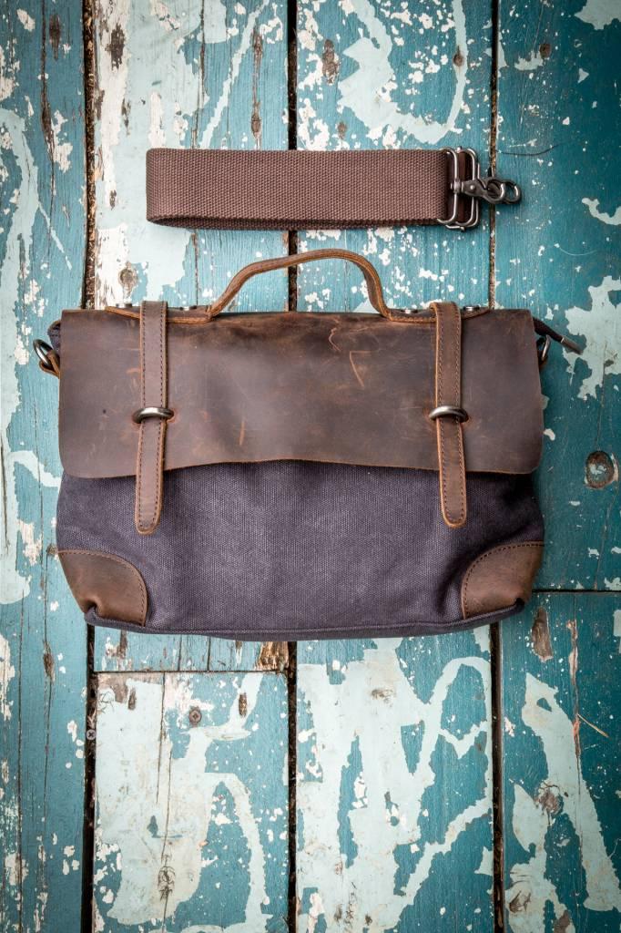 Gentlista (DT) Canvas Leather Attache Small - Black