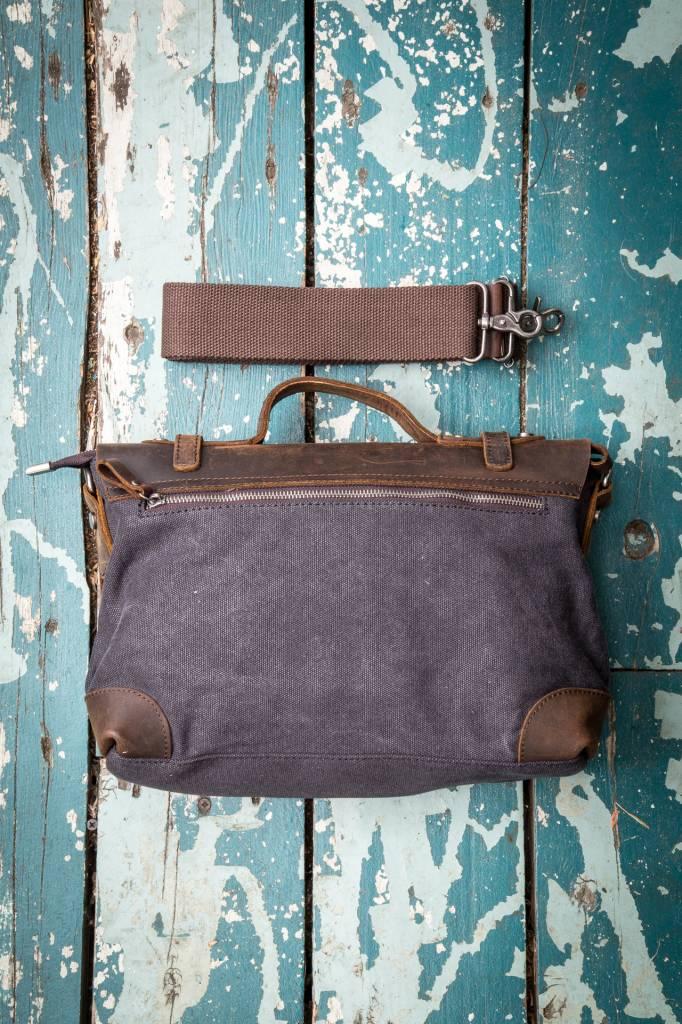 Canvas Leather Attache Small - Black