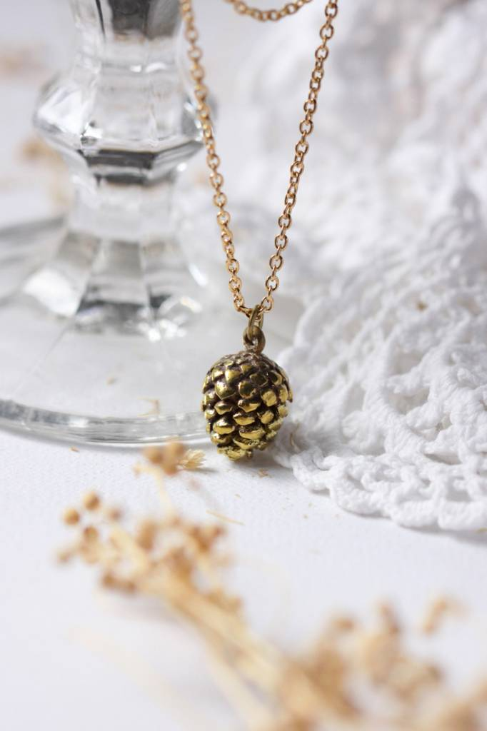 Defy (DT) Brass Small Pinecone Necklace