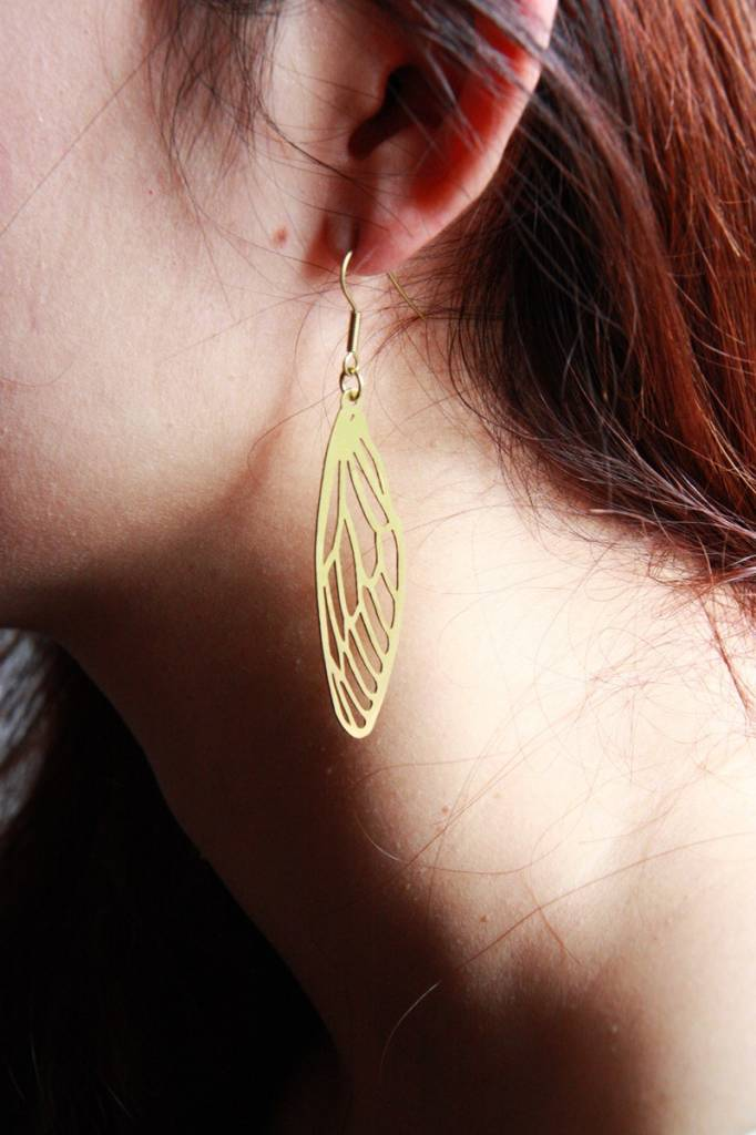Defy (DT) Brass Dragonfly Stencil Earrings
