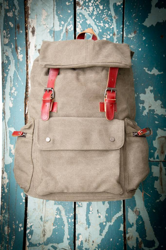 Gentlista (DT) Canvas Leather Full Backpack - Beige