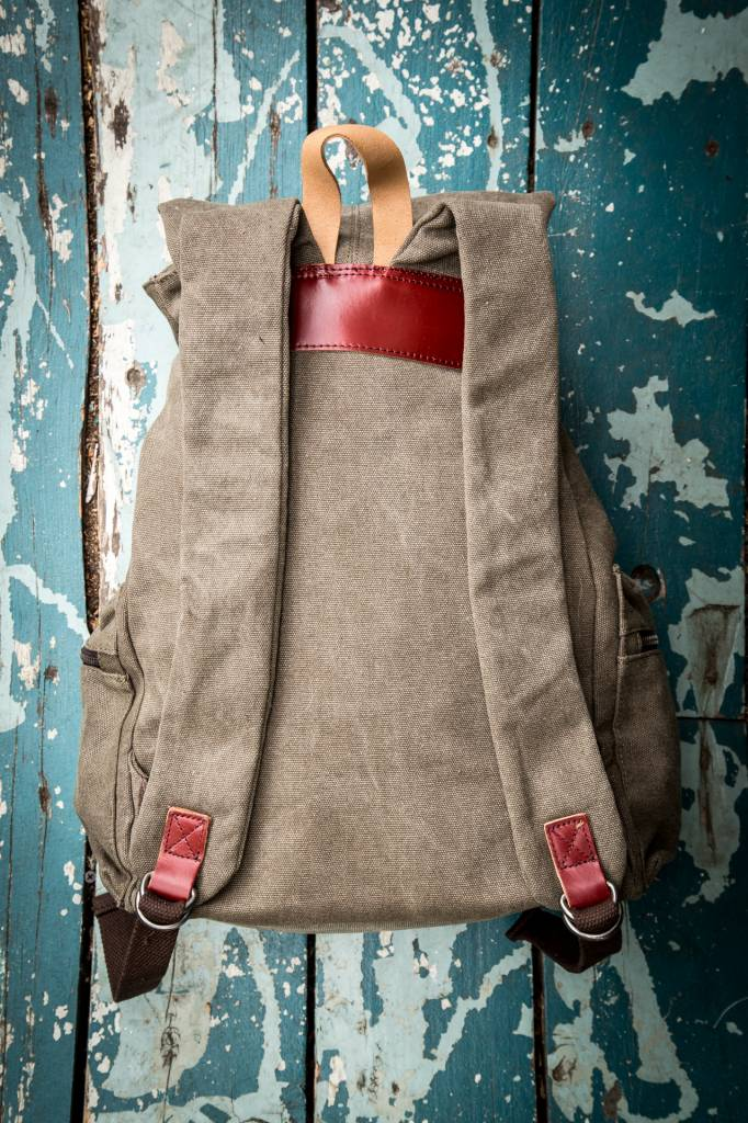 Canvas Leather Full Backpack - Beige