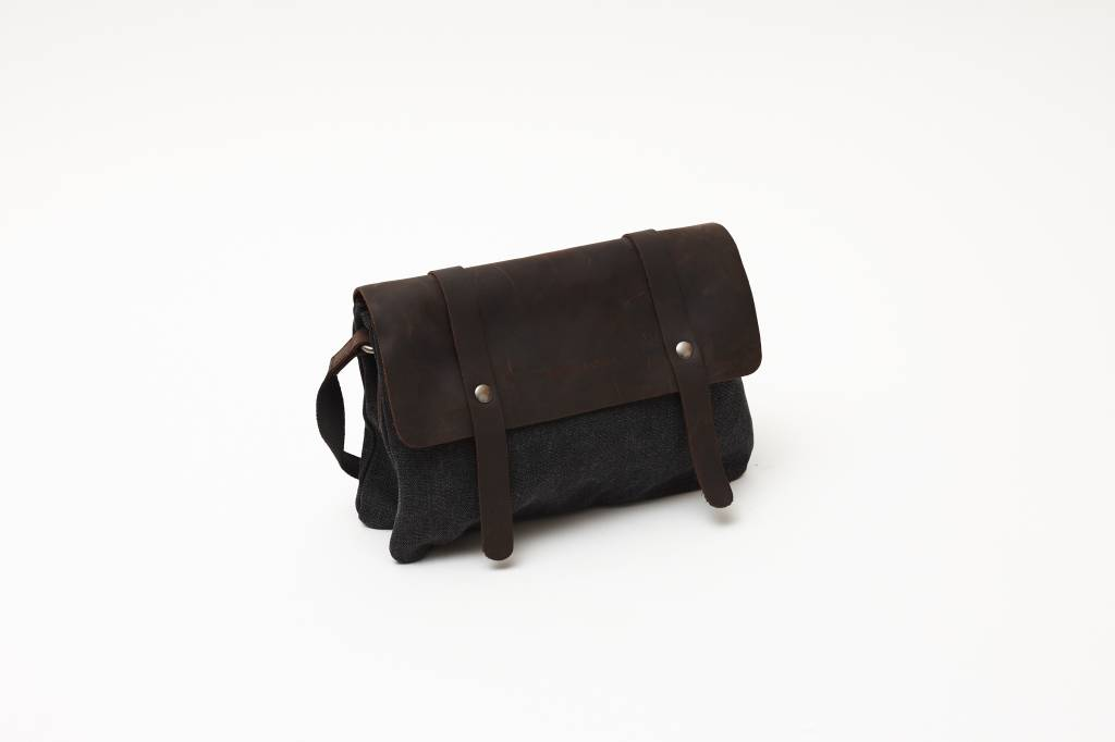 Canvas Leather Purse - Black