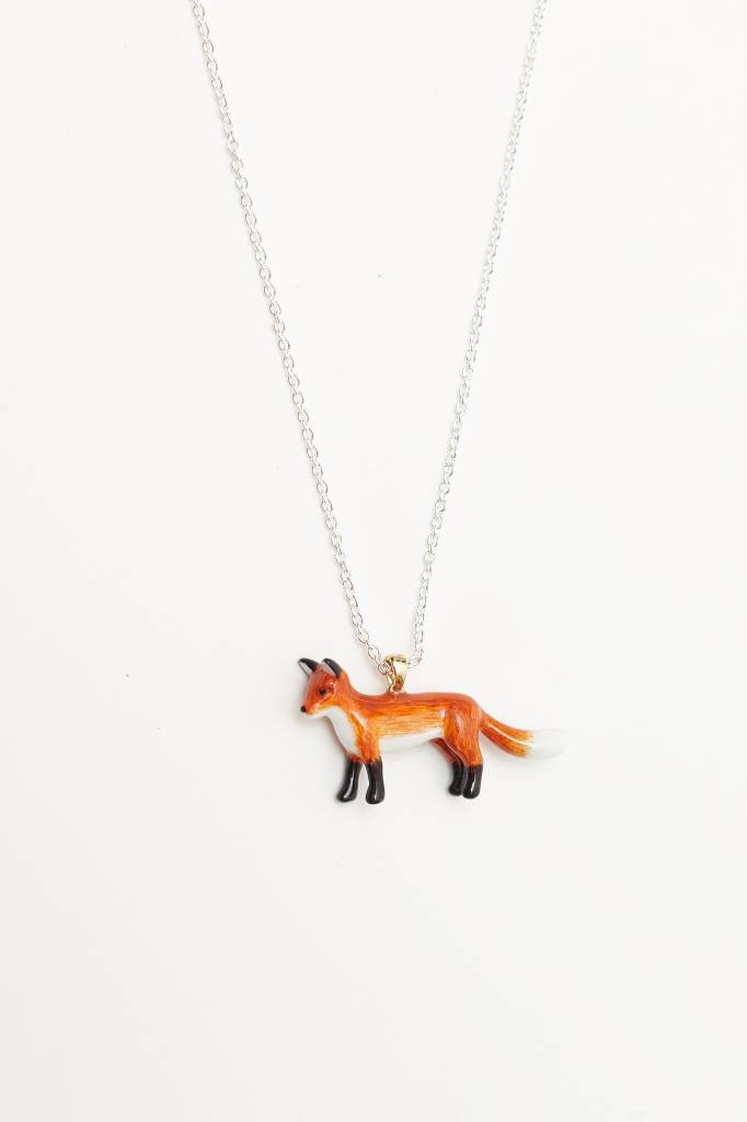 Mary Lou (DT) Hand-Painted Fox Necklace