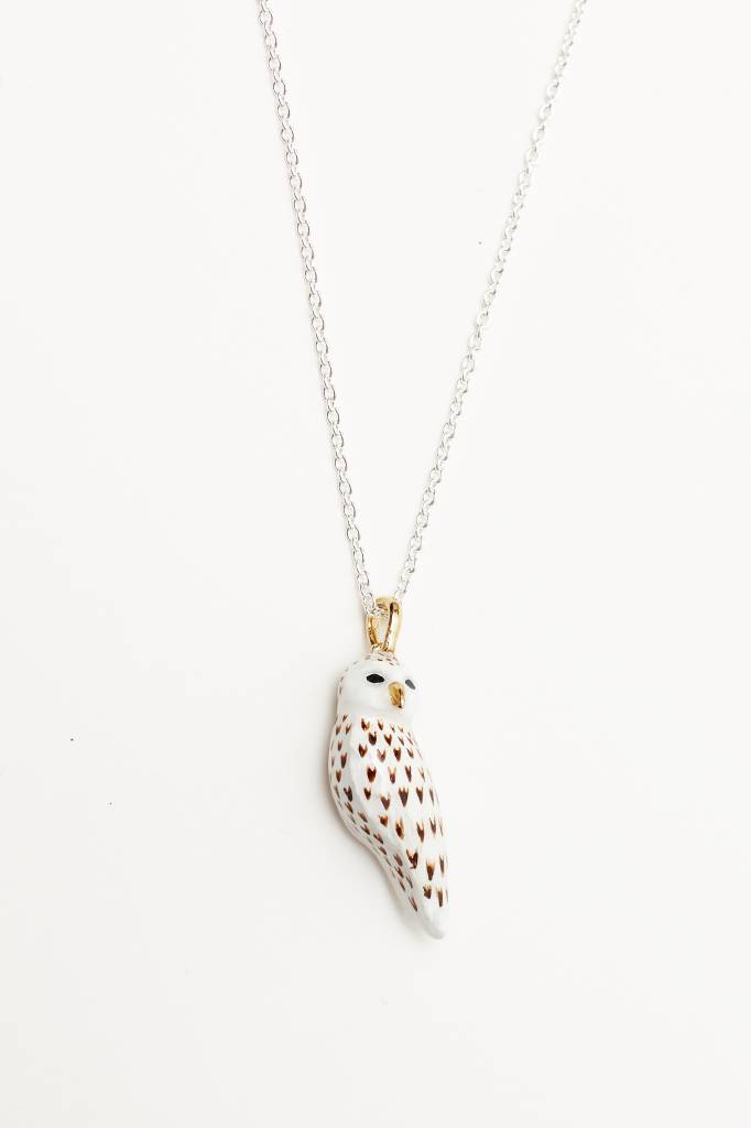 Hand-Painted Snow Owl Necklace
