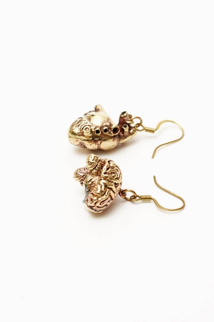 Defy (DT) Brass Anatomical Heart-Brain Earrings