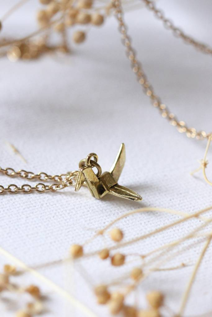 Brass Small Crane Necklace