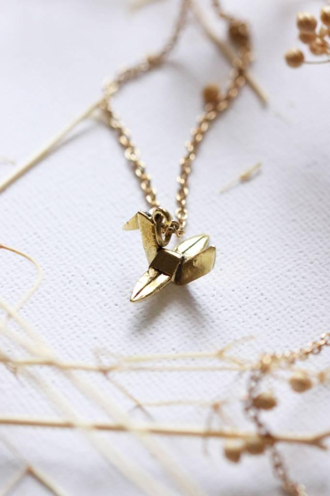 Defy (DT) Brass Small Crane Necklace