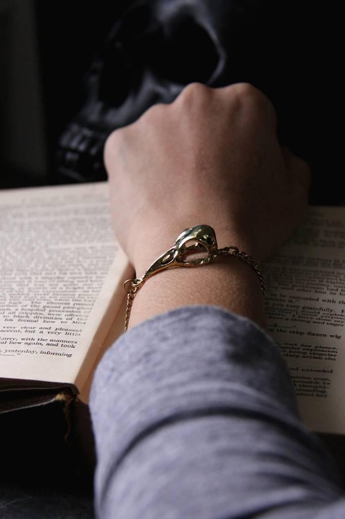 Defy (DT) Brass Raven Skull Bracelet