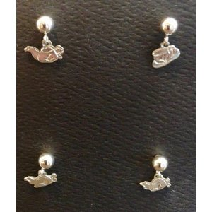 Jewelry Wachter Jewelry - Tiny Sterling Silver Teapot  Earrings hanging  on posts