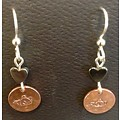 Jewelry Wachter Jewelry - copper circles with teapots engraved hanging from hemitite hearts and silver eurowires