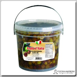 Frutto D'Italia Frutto D'Italia Pitted Mediterranean Olives Mix Canister 4 Lbs (1.8kg)