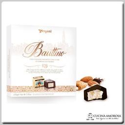 Vergani Bauttino Crunchy Almond Nougat Pralines with Dark Chocolate Coating (200g) Gift Box