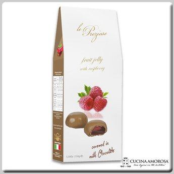 Silagum Le Preziose Fruit Jellies with Raspberry Juice Covered in Milk Chocolate 7 Oz (200g) Gift Box