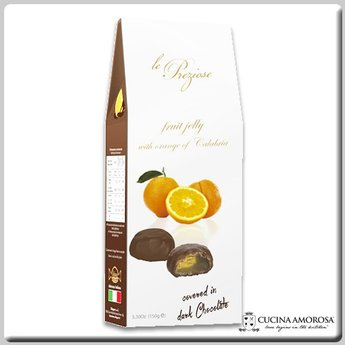 Silagum Le Preziose Fruit Jellies with Orange Juice Covered in Dark Chocolate 7 Oz (200g) Gift Box