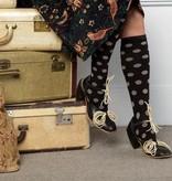 Vim & Vigor Wide Calf - Women's Cotton Compression Sock - Polka Dots: Black & Light Brown