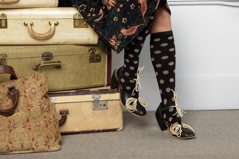 Vim & Vigor Small - Women's Cotton Compression Socks - Polka Dots: Black & Light Brown