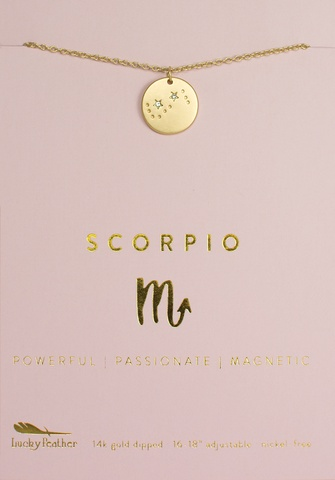 Lucky Feather Necklace / Zodiac Scorpio