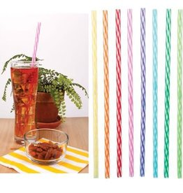 Kikkerland Straws/ Rainbow Reusable Plastic 24ct.