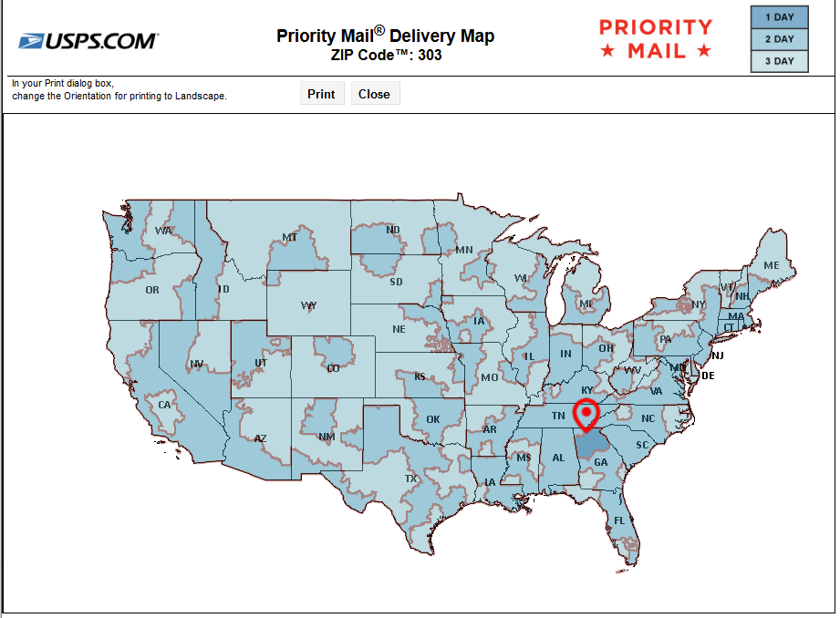 USPS SHIPPING MAP