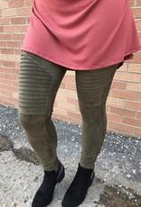Olive Suede Motto Leggings