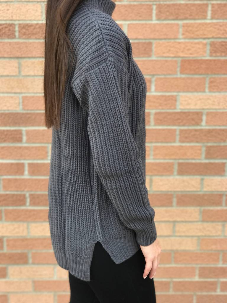 Charcoal Cut Out Sweater