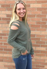 Olive Top with Distressed Arm