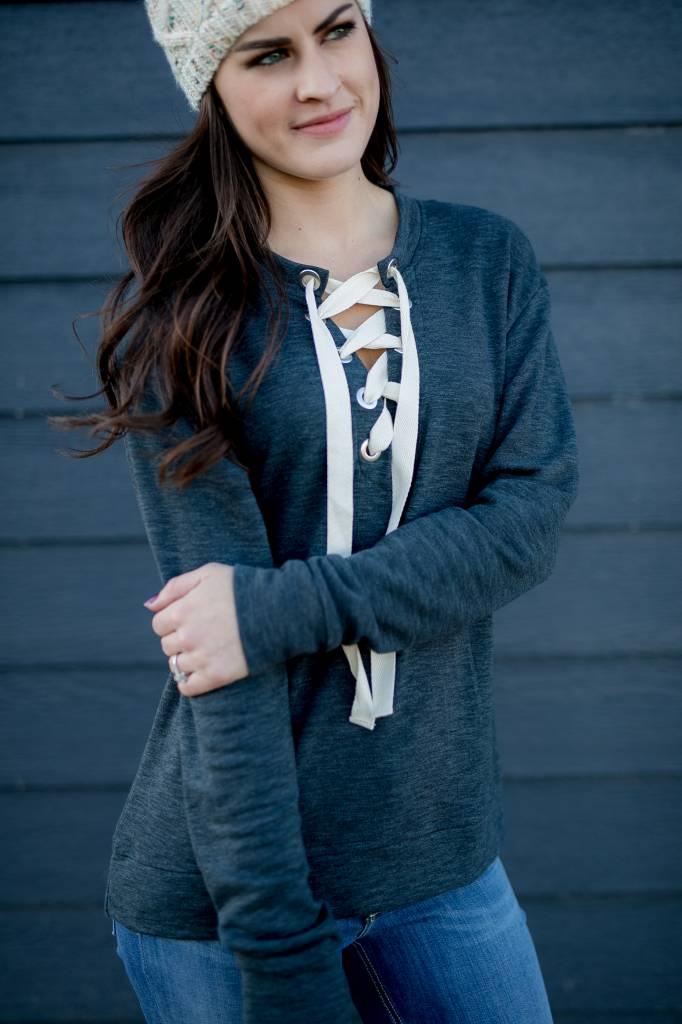 Charcoal Lace Up Sweatshirt
