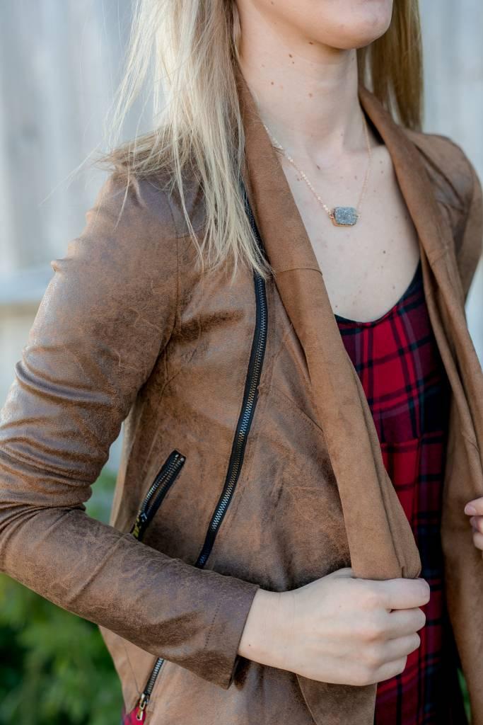 Cognac Zipper Jacket