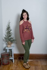 Embroidered Cold Shoulder Sweater