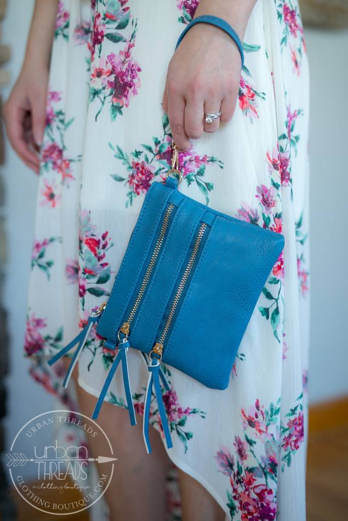 Blue Double Zip Crossbody