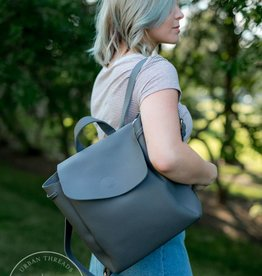 Grey Vegan Leather Backpack