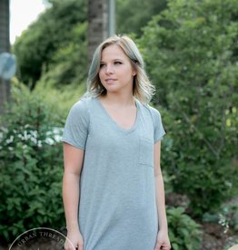Grey V-Neck Hi-Low Tee