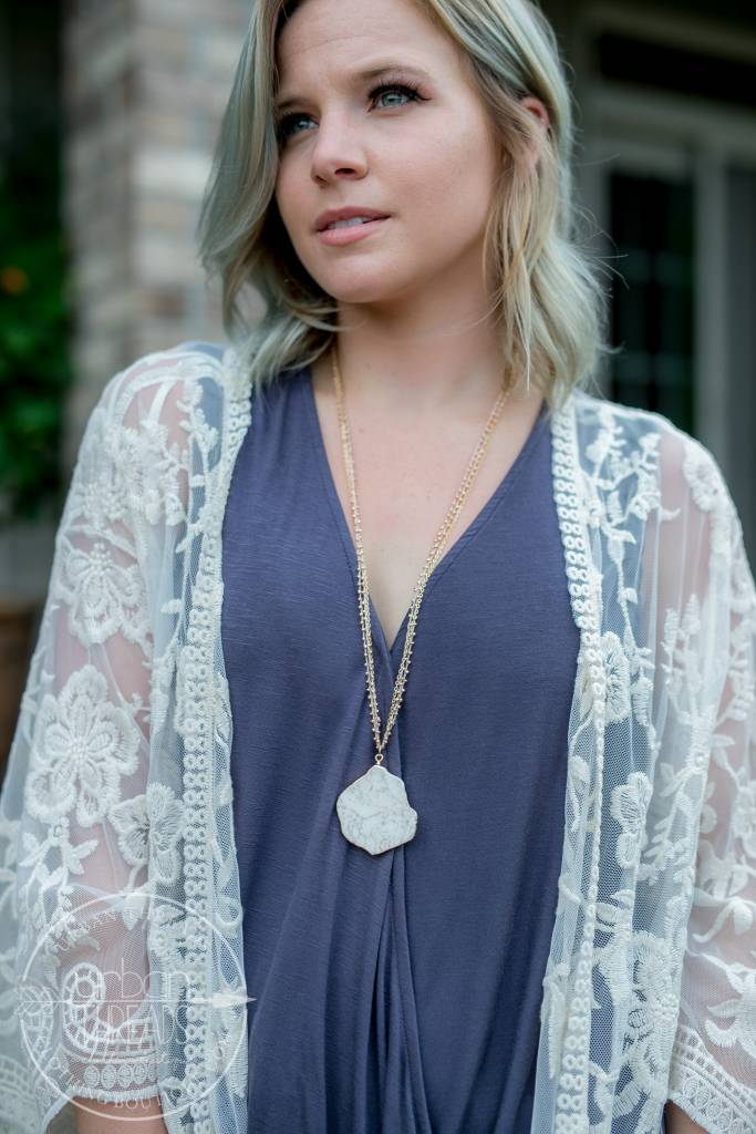 Gold and Rose Gold Stone Necklace