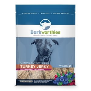 BARKWORTHIES BARKWORTHIES TURKEY,BLUEBERRY & CRANBERRY JERKY 4oz