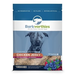 BARKWORTHIES BARKWORTHIES CHICKEN,BLUEBERRY & CRANBERRY JERKY 4oz