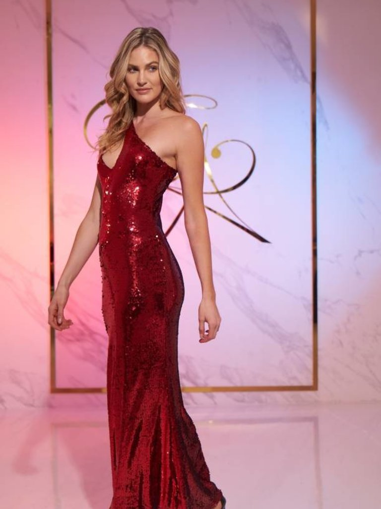 Siren One Shoulder Sleeveless Red Sequins Bodycon Dress - Elegant by ...