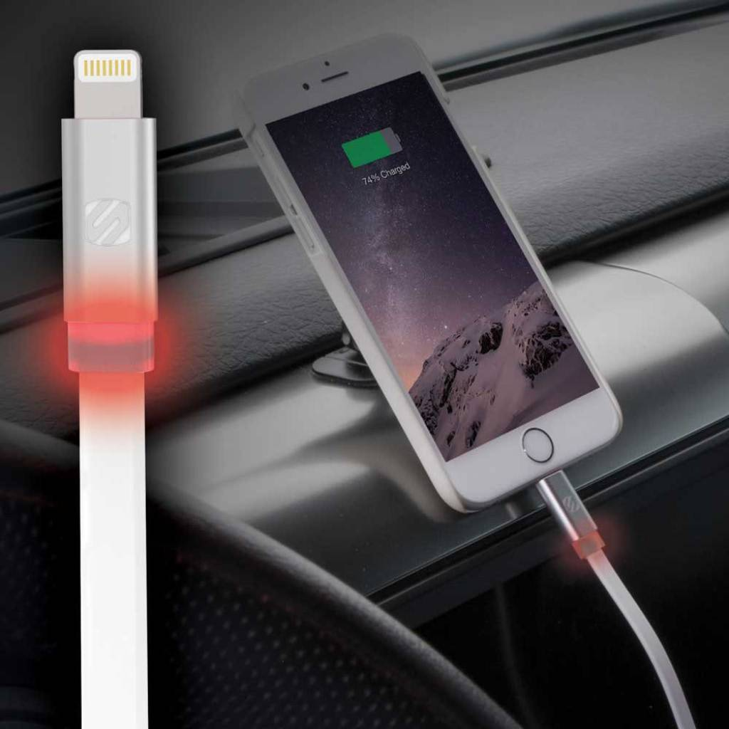 Scosche flatOUT LED I3FLED 10-inch Lightning Charger & Sync Cable for Apple iPhone/iPad - Black