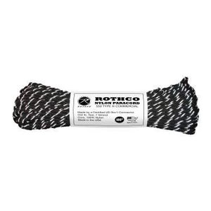 Rothco Nylon Type III 550 Paracord 100ft - Black Reflective