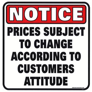 Militaria Notice Prices Subject to Change Sign