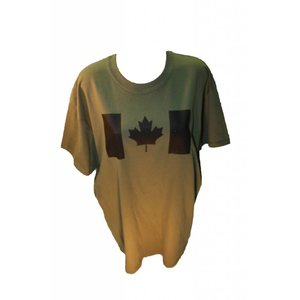 Poco Miltary Black Canada Flag on OD Green T-Shirt