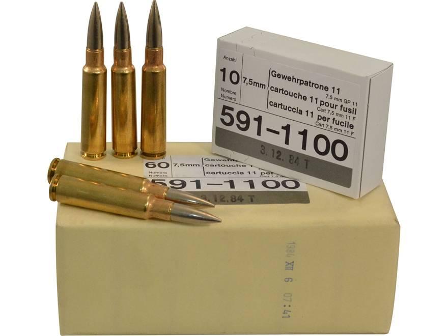 swiss surplus 7 5x55mm gp11 10 rounds poco military