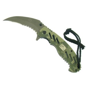 Rabbit ACU Camo Half Serrated Spring Assist Karambit (RB2521-CM)