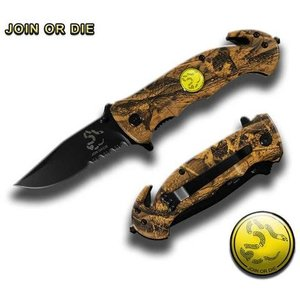 "Duck Desert Camo ""Don't Tread On Me"" Half Serrated Safety Knife (TY0210CJOD)"