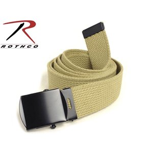 "Rothco Rotcho Khaki Military Web Belt 54"" (w/ Black Metal Buckle)"