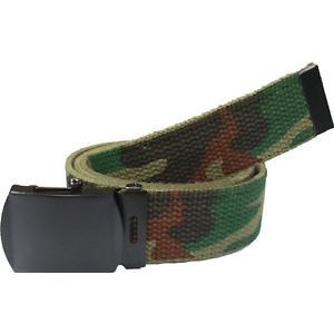 SGS Woodland Camo / OD Reversible Military Web Belt (w/ Black Metal Buckle)