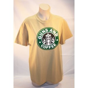 Poco Miltary Guns & Coffee on Tan T-Shirt