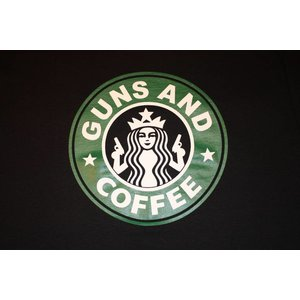 Poco Miltary Guns & Coffee on Black T-Shirt