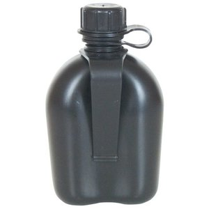 Fox Outdoors 1 Quart Plastic Canteen with Belt Clip Black (BPA Free) (New)
