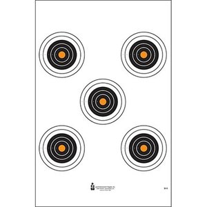 Law Enforcement Targets 5 Orange Bullseye Target Sheet (SI-5)